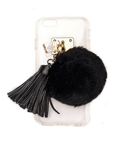 ashlyn'd Transparent iPhone 6 Case w/ Fur Pompom