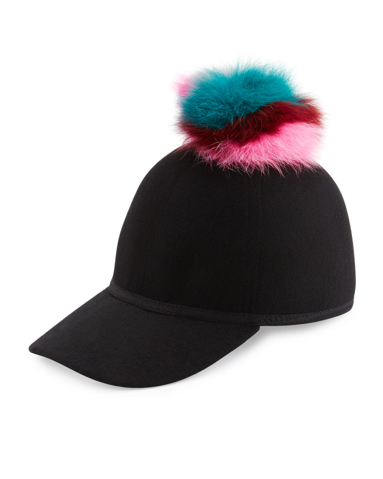 Charlotte Simone Sass Single-Pom Wool Felt Baseball Cap