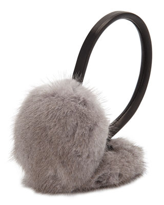 SURELL Leather & Mink Fur Earmuffs, Gray/Black in Grey/Black