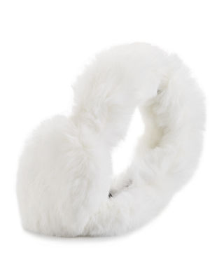 SURELL Rabbit Fur Earmuffs, Chinchilla in Ivory
