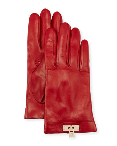 Leather Lock-Cuff Gloves