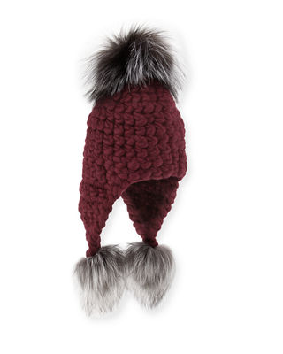 Mischa Lampert Chunky-Knit Wool Pompom Trapper Hat
