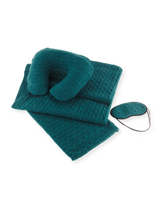 Image 1 of 3: Cashmere Cable-Knit Travel Gift Set