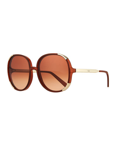 Chloe Round Capped Plastic & Metal Sunglasses