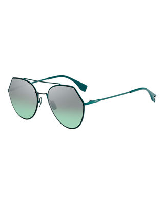 Fendi Eyeline Mitered Aviator Sunglasses