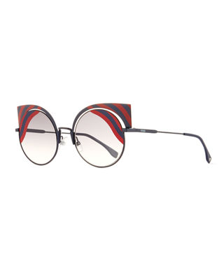 Fendi Hypnoshine Striped Cutout Sunglasses
