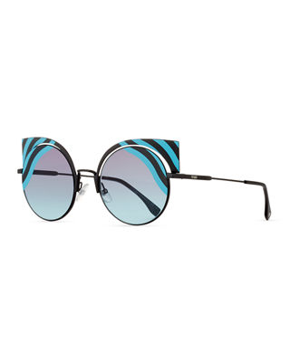 Image 1 of 4: Hypnoshine Striped Cutout Sunglasses