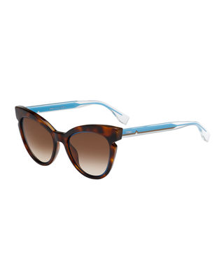 Fendi Two-Tone Cat-Eye Notched Optyl Sunglasses