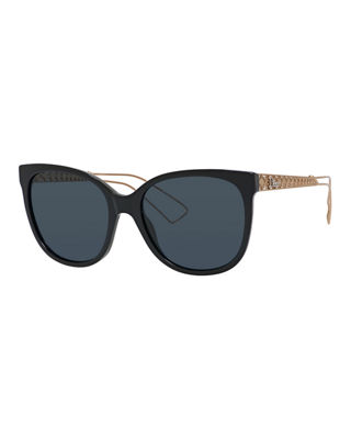 Ama Caged Monochromatic Sunglasses, Ivory in Black