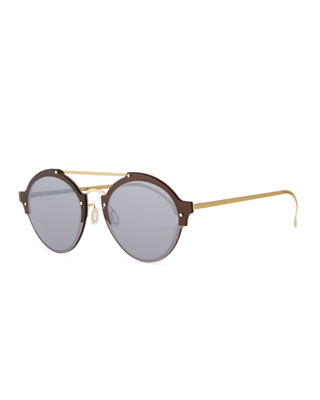 Illesteva Malpensa Mirrored Round Stainless Steel Sunglasses