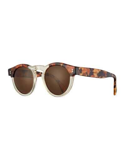 Leonard Monochromatic Round Two-Tone Sunglasses