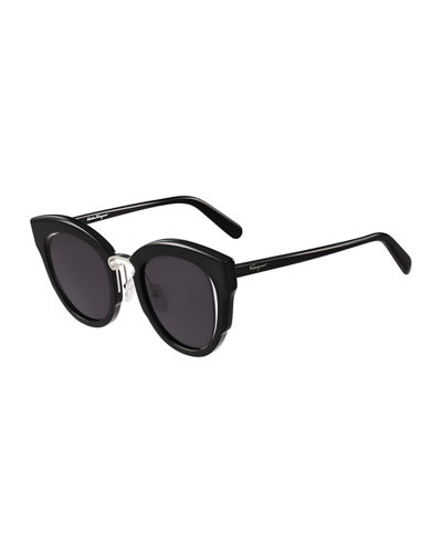 Cutout Monochromatic Cat-Eye Sunglasses