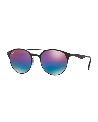 Mirrored Iridescent Round Double-Bridge Sunglasses
