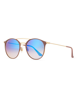 Ray-Ban Mirrored Iridescent Round Double-Bridge Flash Sunglasses