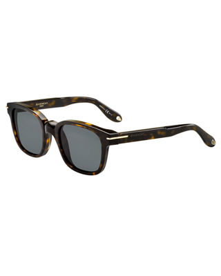 GIVENCHY SQUARE MONOCHROMATIC SUNGLASSES, DARK HAVANA