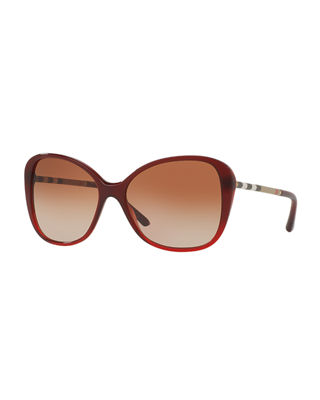 Burberry Gradient Check Square Butterfly Sunglasses
