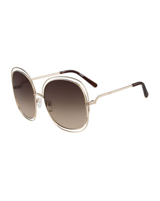 Chloe Carlina Trimmed Round Sunglasses