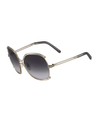Chloe Isidora Metal Aviator Sunglasses
