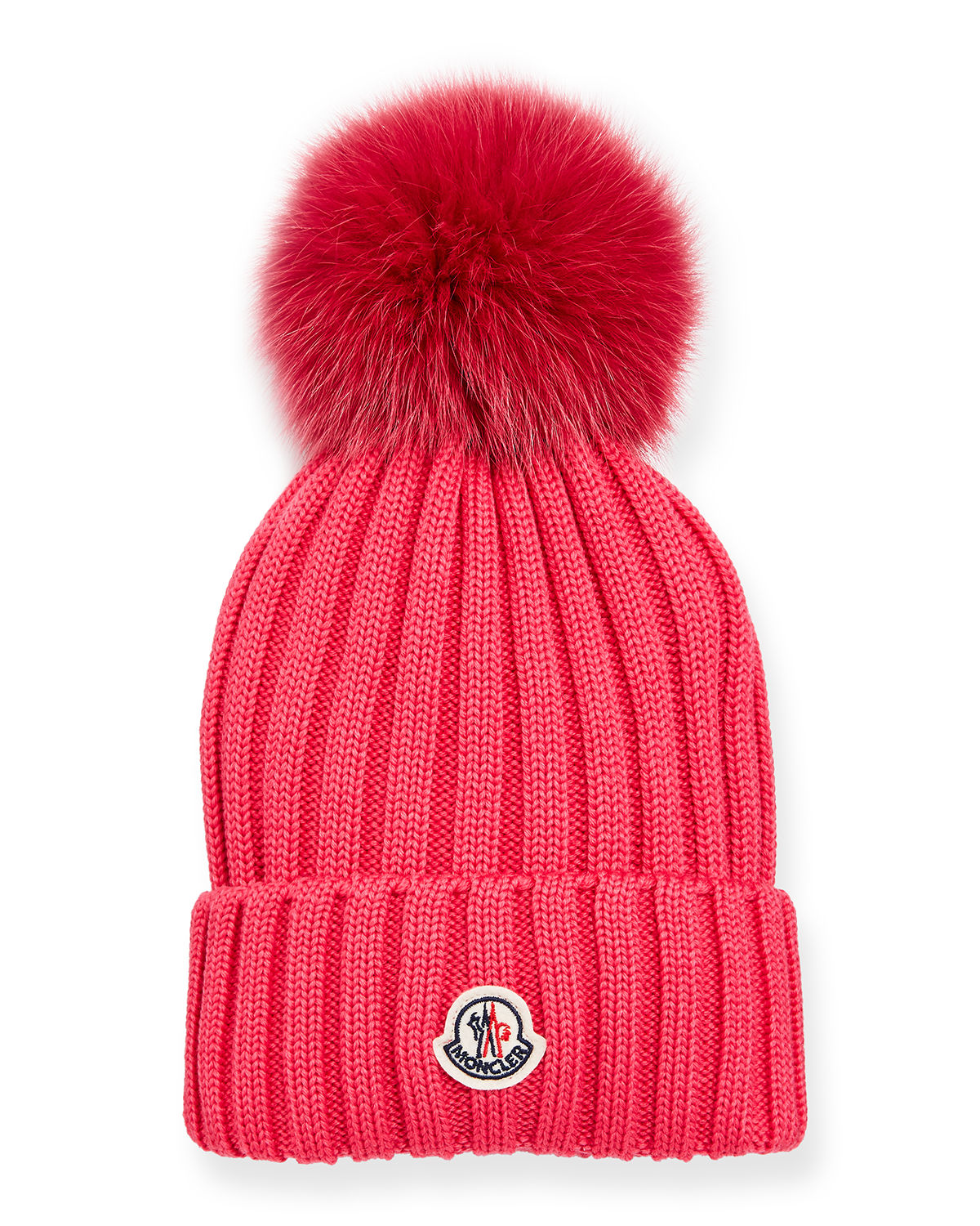 2066bb249e2 Moncler Ribbed-Knit Beanie Hat w Fur Pompom