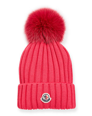 1be4515a68b Moncler Ribbed-Knit Beanie Hat w Fur Pompom