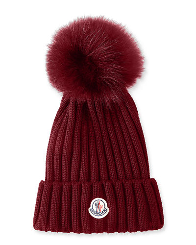 Ribbed-Knit Beanie Hat w/Fur Pompom