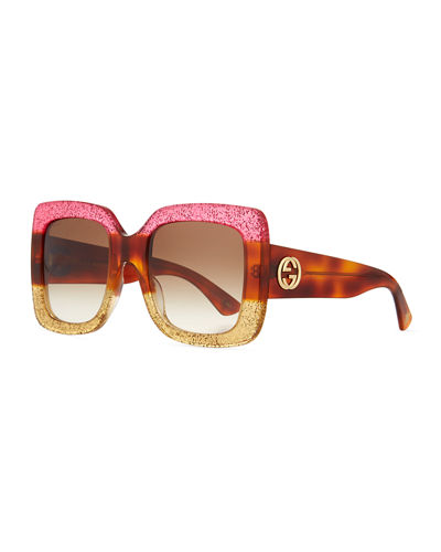 Glittered Gradient Oversized Square Sunglasses