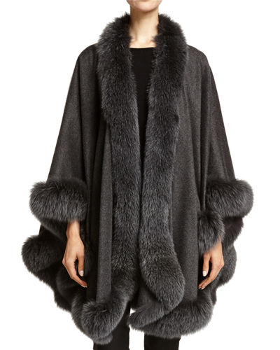 Fox Fur-Trimmed Cashmere U-Cape