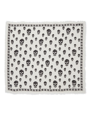 Image 2 of 2: Skull-Print Scalloped Silk Scarf