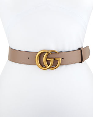 6deac29142c Gucci Leather Belt with GG Buckle