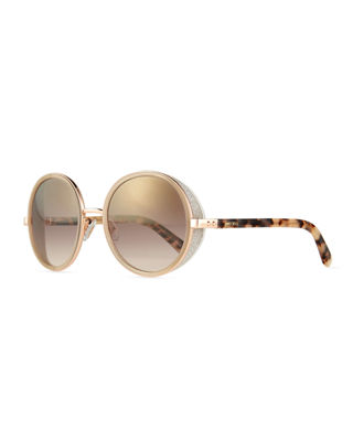 Jimmy Choo Andie Round Glitter-Trim Sunglasses
