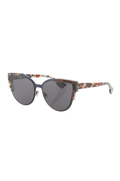 Wildly Dior Cat-Eye Sunglasses, Havana/Light Blue