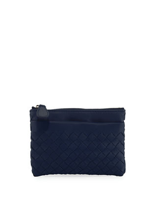 Intrecciato Zip-Top Key Pouch, Blue/Gray