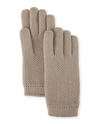 Cashmere Crochet Gloves, Taupe