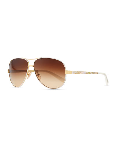 Metal Aviator Sunglasses with Logo Arms