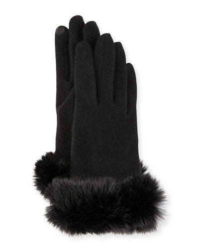 Fur-Cuff Knit Tech Gloves