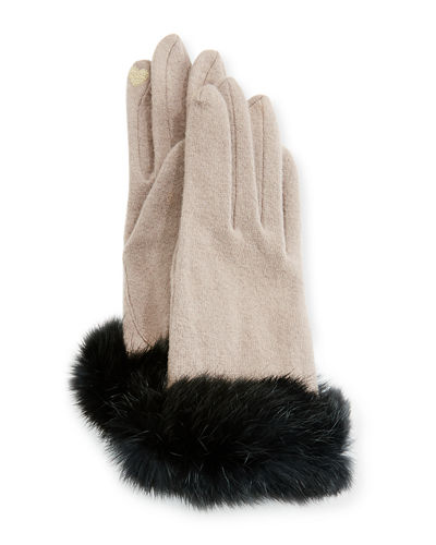 Portolano Fur-Cuff Knit Tech Gloves