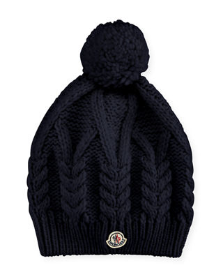 Cable-Knit Hat w/Pompom