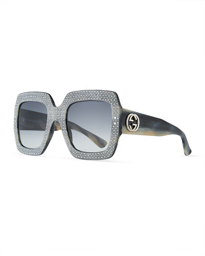 Gucci Sunsights Crystal-Trim Square Gradient Sunglasses