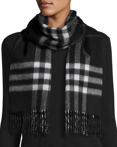 Burberry Reversible Metallic & Check Cashmere-Blend Scarf
