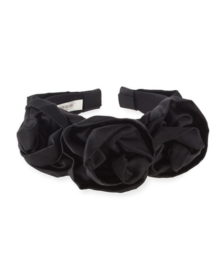 Image 2 of 2: Jennifer Behr Rosette Silk Satin Headband