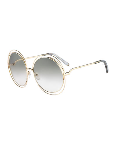 Chloe Carlina Round Wire Metal Sunglasses