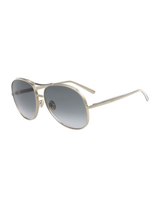 Chloe Nola Oversized Square Aviator Sunglasses
