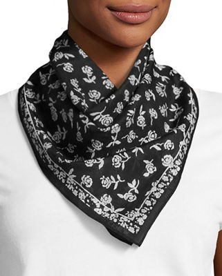 Rag & Bone Woman Floral-print Cotton And Silk-blend Scarf Black Size Rag & Bone