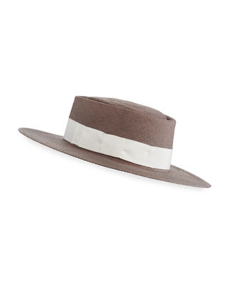 Gladys Tamez Taylor Panama Straw Boater Hat