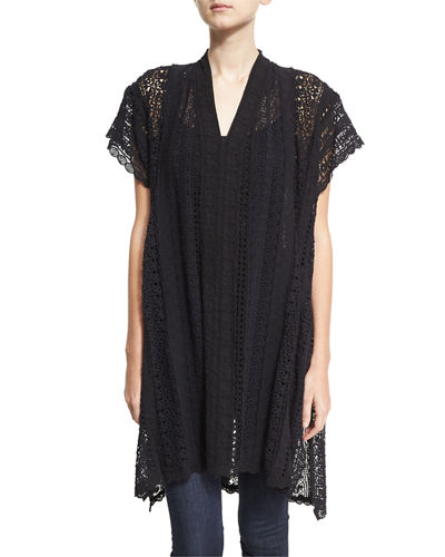 Johnny Was Pearla Lace-Crochet Poncho