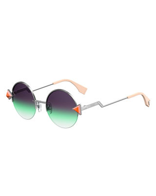 FENDI STUDDED ROUND GRADIENT SUNGLASSES W/ STEPPED TEMPLES, GREEN/SILVER