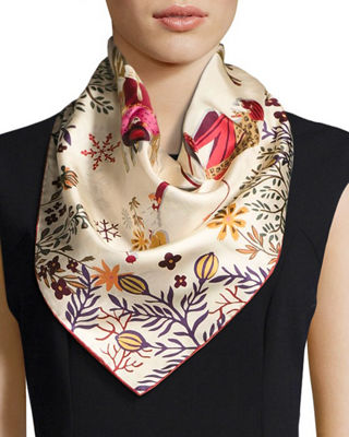 Salvatore Ferragamo Oslo Ladies Skiing Silk Scarf
