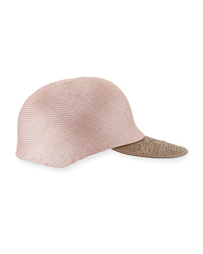 Inverni Straw Leather-Trim Baseball Cap
