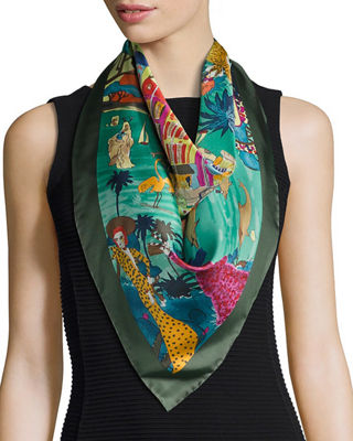 Image 1 of 2: Silk French Escape Scarf
