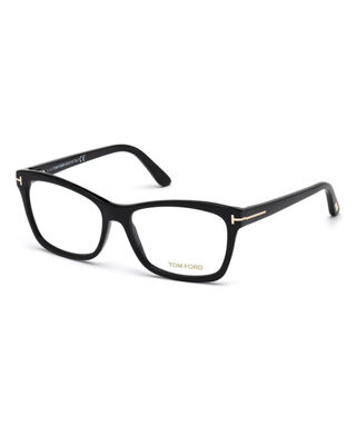 Square Optical Frames, Brown Havana in Black/Red